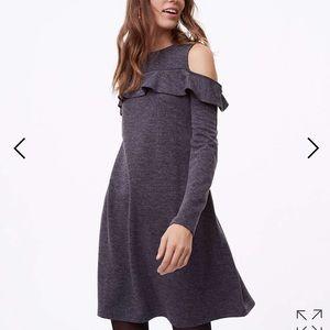 Ruffle cold shoulder knit dress